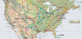 A map of pipelines crisscrossing the United States