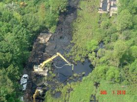 Aerial photo of Talmadge Creek after Enbridge oil spill