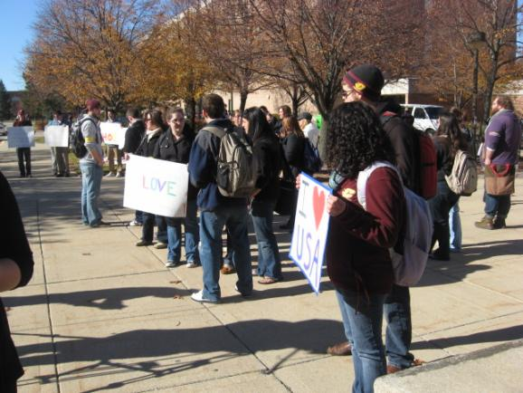 CMU students protesting the appearance of the Westboro Baptist Church members
