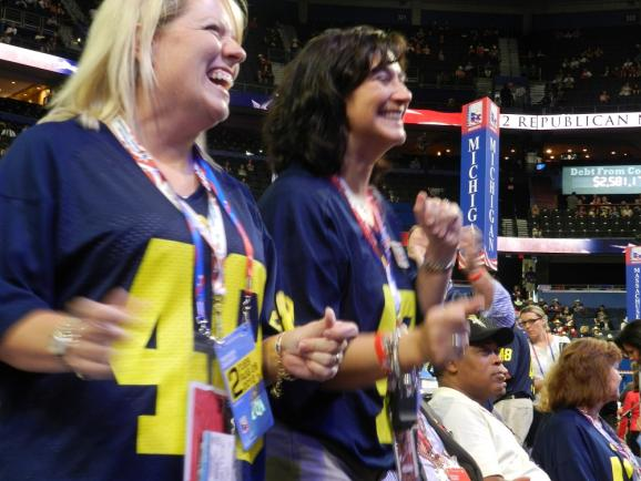 Michigan delegates wearing U of M jerseys in honor of Pres. Ford (former U of M football player)