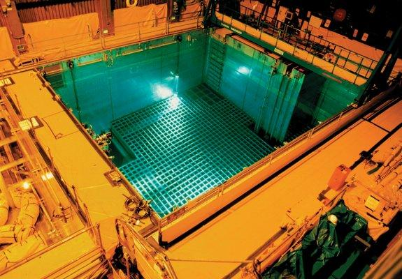 Nuclear waste cools off in a storage pool, before being stored in dry casks. Most waste is stored on-site at nuclear power plants around the country.