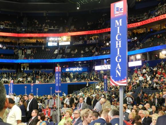 On the floor of the Republican National Convention in Tampa, Fl.