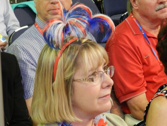From the Ohio delegation, showing patriotic hair.
