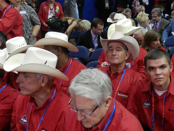 Colorado delegates break out the red shirts and cowboy hats.