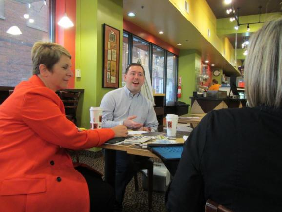 Listener Sean Gillis talking with Cynthia Canty and Zoe Clark about what he'd like to hear on Michigan Radio at the #opennewsroom at the Biggby Coffee in Lansing.