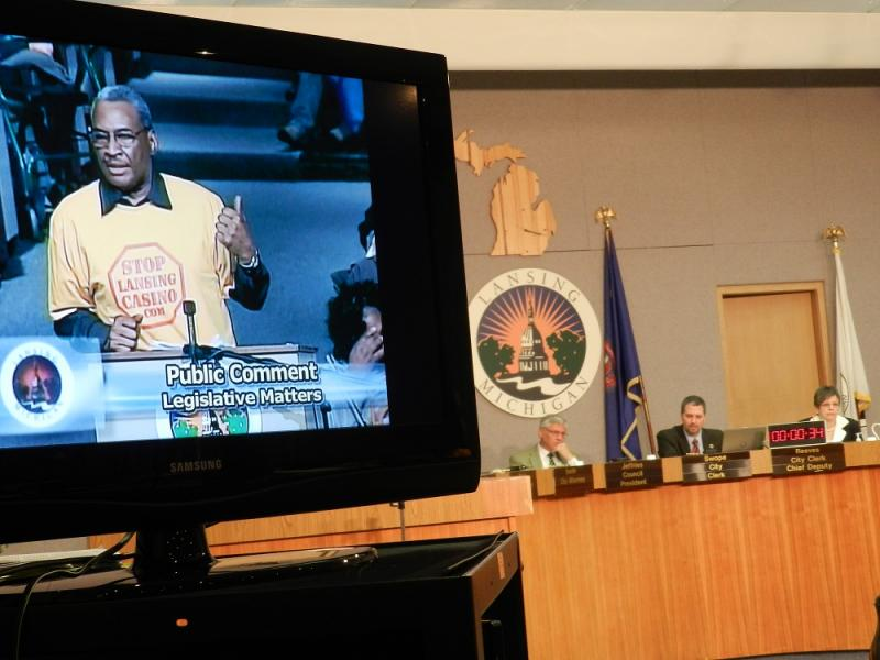 Lansing casino opponent at last night's city council public hearing