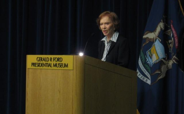Former First Lady Rosalynn Carter speaks at the Gerald R. Ford Presidential Muse