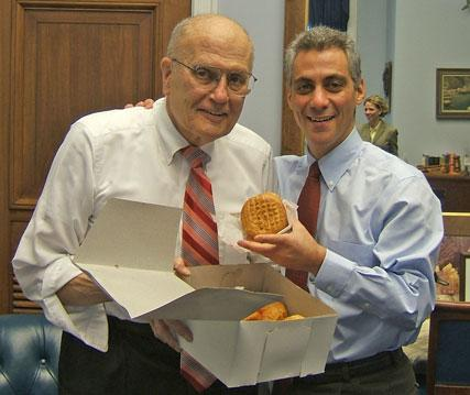 John Dingell and Rahm Emanuel holding a paczki