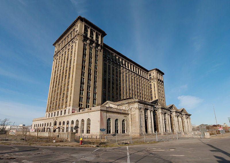 The outside of Michigan Central Train Station