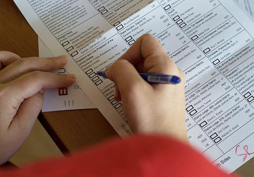 Close-up of ballot in Texas
