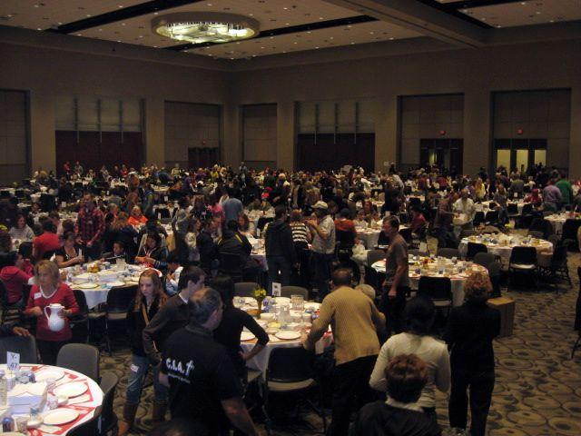 Volunteers serve Thanksgiving at DeVos Place