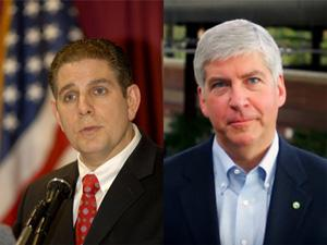 Virg Bernero and Rick Snyder