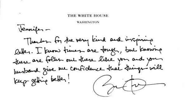 A handwritten letter from President Barack Obama