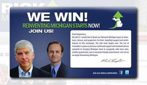 Rick Snyder&#039;s website splash page