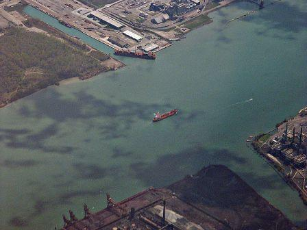 Aerial view of the Detroit River