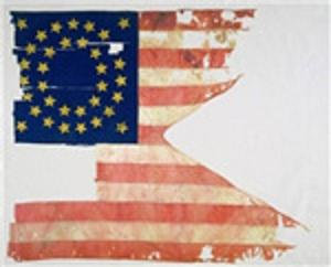 Flag recovered from Custer's last stand at the battle of Little Bighorn