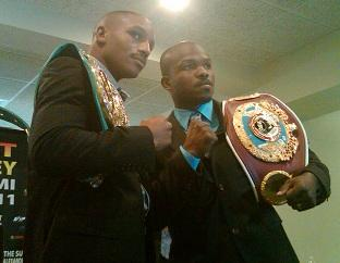 WBC champion Devon Alexander and WBO champion Timothy Bradley pose for pictures at the announcement of their 140 lb super lightweight championship bout January 29th at the Pontiac Silverdome.