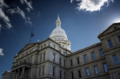 A view of the Capitol building in Lansing.