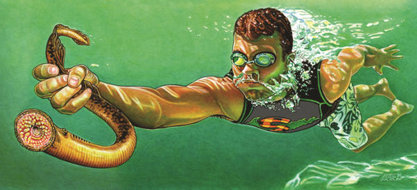 Painting of a boy grabbing a sea lamprey by Mark Heckman.