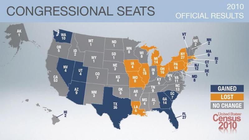 Map of U.S. House of Representative seats gained and lost in Census count