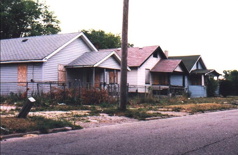Boarded up houses in Flint, Michigan