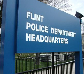 Sign of Flint Police Headquarters