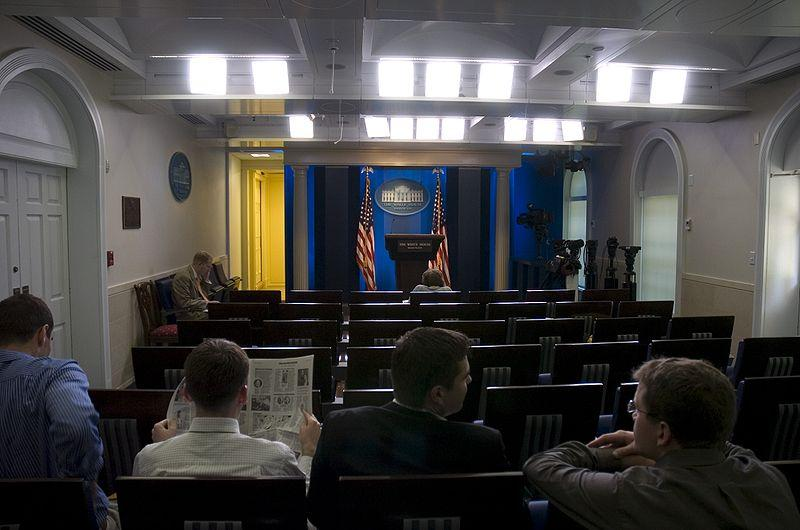 Helen Thomas sits at the front of the White House press briefing room in 2007