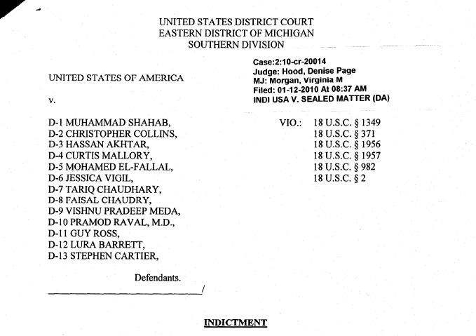 First page of the unsealed indictment