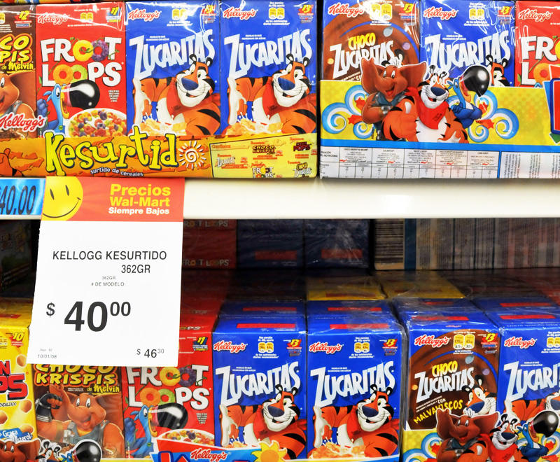 Boxes of Kellogg&#039;s cereal at a Wal-Mart