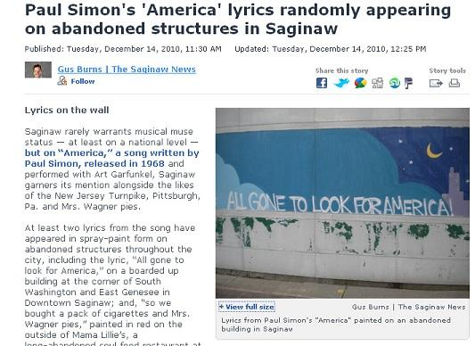 "Lyrics from Paul Simon's ""America"" painted on an abandoned building in Saginaw"