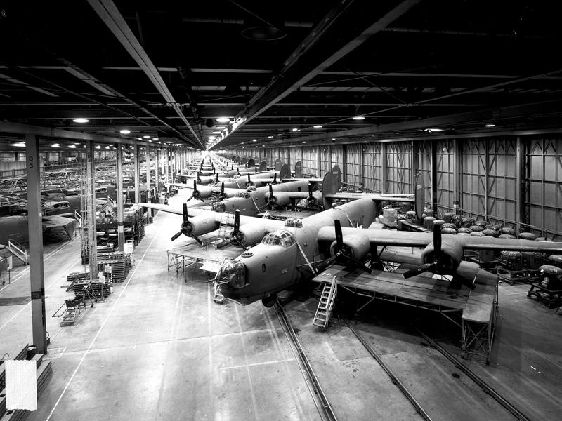 Willow Run Factory and B-24 bombers.