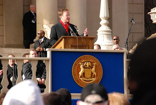 Attorney General Bill Schuette shortly after he took the oath of office in Lansing