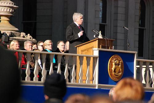 Governor Rick Snyder delivering his first inaugural address in Lansing, MI