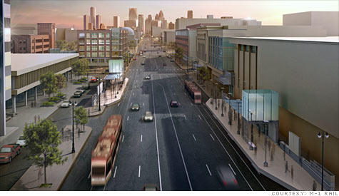Artist's rendering of light rail along Woodward Ave. in Detroit