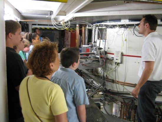 A group touring the National Superconducting Cyclotron Laboratory at MSU.