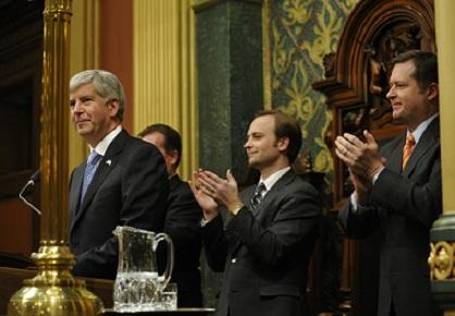 Governor Rick Snyder delivering his first State of the State address Wednesday night