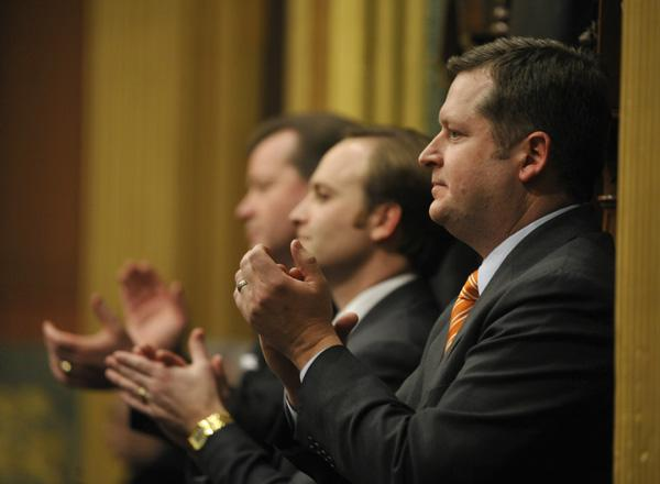 Michigan Speaker of the House Jase Bolger (foreground) and Lieutenant Governor Brian Calley during Governor Snyder's State of the State address.