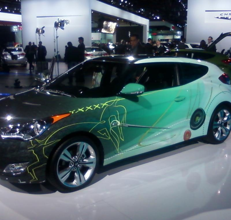 A Hyundai Veloster displayed at the 2011 North American International Auto Show in Detroit