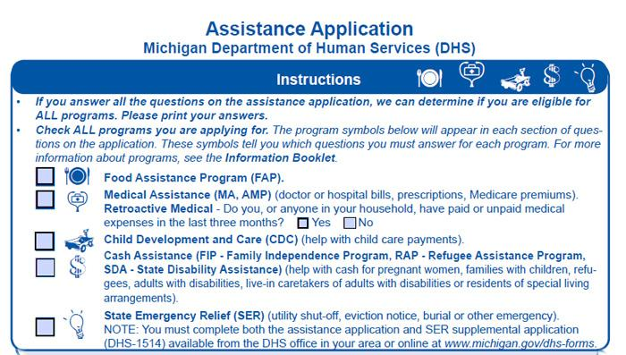 A snapshot of Michigan's Assistance Application.