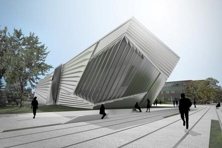 A view of the planned Eli and Edythe Broad Art Museum.