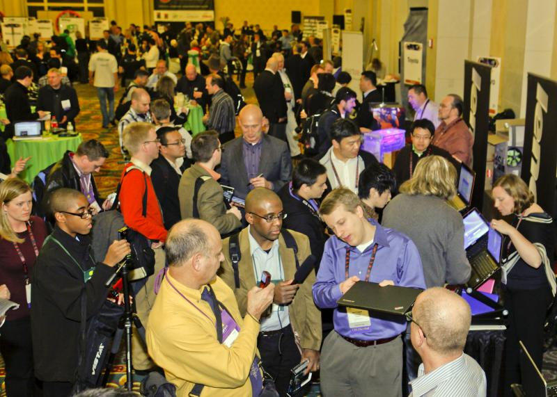 Reporters checking out the latest gadgets at the Consumer Electronics Show in Las Vegas.