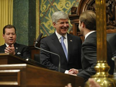 Governor Rick Snyder at last night's State of the State address.