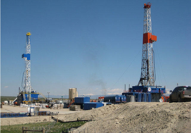 Michigan could see more natural gas drilling rigs like these near Pinedale, WY.