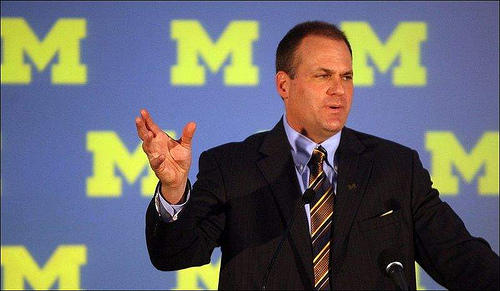 Rich Rodriguez in 2007 accepting the coaching position at UM