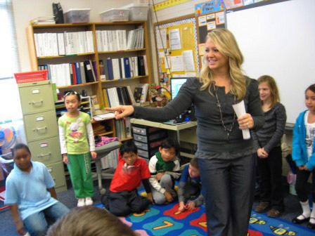 2nd grade teacher Kim Fox integrates fun into her class lessons at North Godwin Elementary in Wyoming, Michigan.