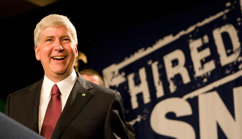 "Michigan governor Rick Snyder. Snyder says cutting state worker pay is ""an extremely difficult issue because you're talking about people and their families."""