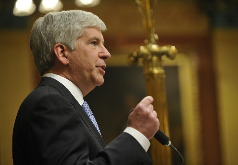 Governor Rick Snyder delivering his State of the State address Wednesday night.