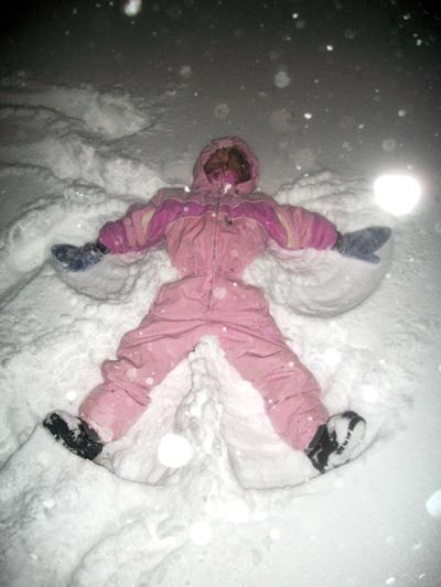 Now she can say she made a snow angel in a blizzard.