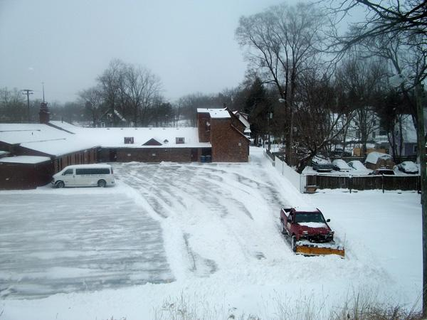 Plowing a parking lot