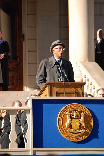 Mayor Bing speaks at the Michigan gubernatorial inauguration ceremony in January.